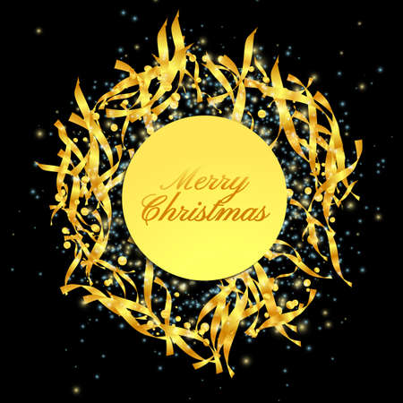 Glitter Gold Confetti. Isolated Vector. Falling Confetti. Xmas celebration. 2021 New Year. Holiday Greeting Card. Shiny Party Background. Xmas present. Bright decoration. 2021 Merry Christmas Banner.