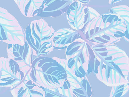 Summer Textile Design. Aqua Menthe and Green Rose Leaves Seamless Pattern. Romantic Botanical Vector Background. Painted English Rose Leaf Patterns Collection. Repeated Spring Peony Wallpaper. Vettoriali