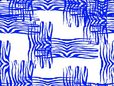African Pattern. Stripes Seamless Pattern. Geometric Animal Texture. Watercolor Camouflage Design. Abstract Safari Tile. Zebra Skin Print. Animal Camouflage Background. Classic blue and indigo Reklamní fotografie