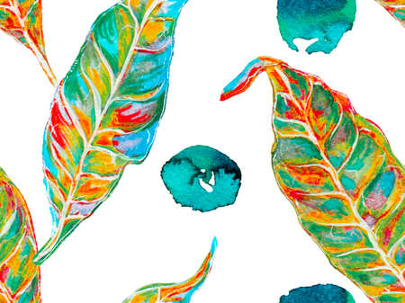 Summer Vintage Background. Bio Jasmin Seamless Pattern. Vibrant Sakura and Jasmine Print. Classic Blue and Lush Lava Red Watercolor Citrus Orange Blooming Flowers and Leaves. Floral Ayurveda Pattern. Reklamní fotografie