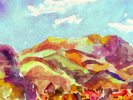 Mountain Illustration. Contemporary Geometric Sketch. Red and Indigo Asian Hiking Rocky Background. Fun Himalayas. Watercolor Korea Print. Stylized Japanese Watercolor Mountains. Reklamní fotografie