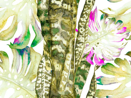 Green and Gray Summer Floral Background. Botanical Forest Illustration. Watercolor leaves Seamless Pattern. Exotic Swimwear Design. Hawaii Aquarelle Print. Vintage Eco Rapport. Reklamní fotografie
