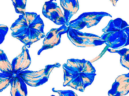Vibrant Sakura and Jasmine Print. Summer Vintage Background. Classic Blue and Indigo Bio Jasmin Seamless Pattern. Floral Ayurveda Pattern. Watercolor Citrus Orange Blooming Flowers and Leaves.