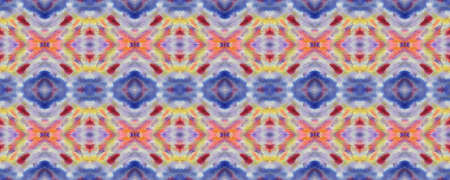 Blue, Red, Green Pastel Fun Rectangle Ikat Rapport. Ethnic Seamless Pattern. Geometric Swimwear Pattern. Paintbrush Aztec Background. Kilim Rug Random Texture. Watercolor Ethnic Design.