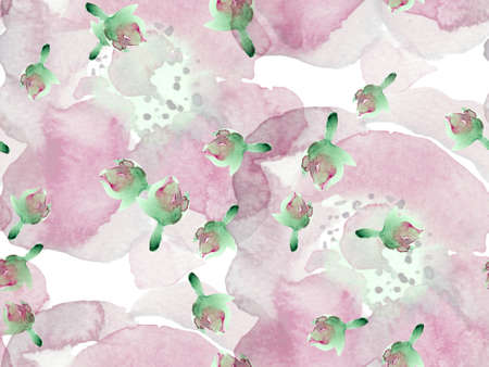 Exotic Swimwear Design. Hawaii Aquarelle Print. Watercolor Roses, Peony and Leaves Seamless Pattern. Summer Blossom Background. Botanical Floral Illustration. Vintage Peonie Eco Rapport.