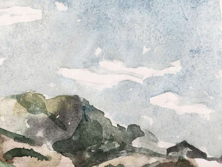 Tidewater Green and Blue Mountain Illustration. Contemporary Geometric Sketch. Asian Hiking Rocky Background. Stylized Japanese Watercolor Mountains. Fun Himalayas. Watercolor Korea Print. Reklamní fotografie