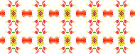 Geometric Swimwear Pattern. Snake Skin Random Texture. Red, White and Yellow Paintbrush Python Background. Watercolor Ethnic Design. Ethnic Seamless Pattern. Fun Rectangle Ikat Rapport. Stockfoto