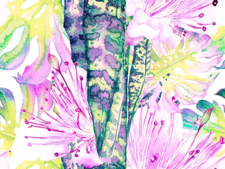 Watercolor leaves Seamless Pattern. Summer Floral Background. Botanical Forest Illustration. Aqua Menthe and Proton Purple Exotic Swimwear Design. Hawaii Aquarelle Print. Vintage Eco Rapport. Reklamní fotografie