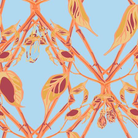 Modern Hand Drawn Background. Vector Summer Citrus Print. Botanical Illustration. Psychedelic Citron Motif. Simple Marker Lime. Lemon Seamless Pattern. Cerulean blue and gold