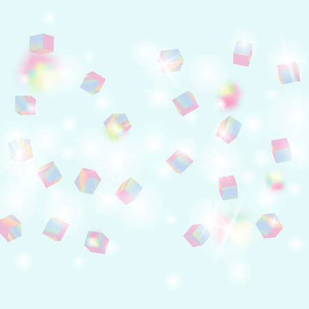 Geometric Anniversary Card. Birthday Card with Metallic Texture. Holo Confetti. Isolated Holographic Cube Particles. Vector Square Bokeh. Iridescent Background. Chaotic Confetti Backdrop. Foil Border.