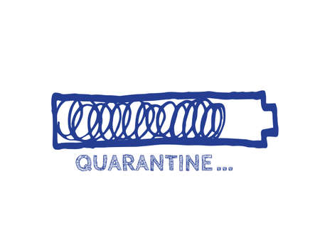 Quarantine Illustration. Infographic Element with 90% Complete Indicator. The End of virus Progress Bar Status. Website Sketch Bar with Adjustable Fill Part.