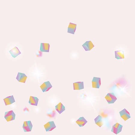 Geometric Anniversary Card. Holo Confetti. Isolated Holographic Cube Particles. Birthday Card with Metallic Texture. Vector Square Bokeh. Iridescent Background. Chaotic Confetti Backdrop. Foil Border.