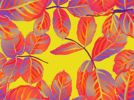 Summer Textile Design. Romantic Botanical Vector Background. Saffron Yellow and Red Repeated Spring Peony Wallpaper. Rose Leaves Seamless Pattern. Painted English Rose Leaf Patterns Collection. Illustration