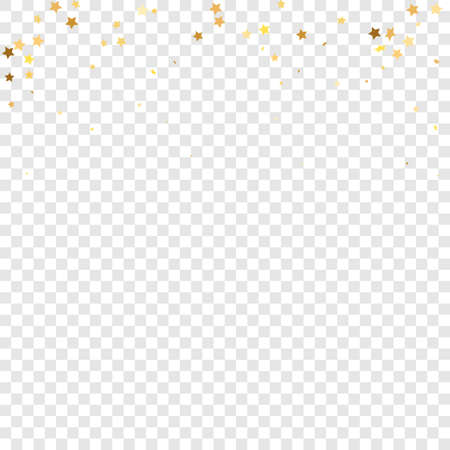 Star Sequin Confetti on Transparent Background. Isolated Flat Birthday Card. Golden Stars Banner. Vector Gold Glitter. Falling Particles on Floor. Voucher Gift Card Template. Christmas Party Frame.