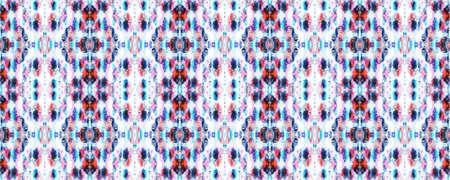 Batik Tie Dye Border. Watercolor Stencil Japan Background. Red, White and Blue Organic Minimal Textile. Tie Dye Abstract Texture. Kimono Tile. Shibori Seamless Pattern. Watercolor Shoji Design.