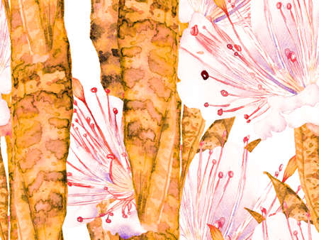 Vintage Eco Rapport. Watercolor leaves Seamless Pattern. Rust Orange Summer Floral Background. Botanical Forest Illustration. Exotic Swimwear Design. Hawaii Aquarelle Print. Banco de Imagens