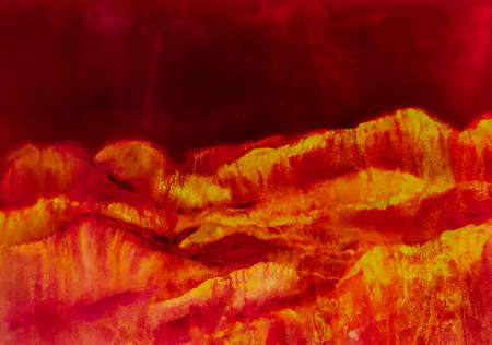 Crimson Red Contemporary Geometric Sketch. Mountain Illustration. Fun Himalayas. Watercolor Korea Print. Asian Hiking Rocky Background. Stylized Japanese Watercolor Mountains. Banco de Imagens