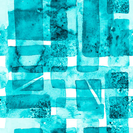 Organic Background. Fun Geometry. Bauhaus Seamless Pattern. Watercolor Trendy Art. African Geo Brushstroke. Freehand Watercolor Lines. 70s Color Cubism Illustration. Blue and indigo Banco de Imagens