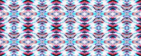 Tie Dye Abstract Texture. Red, White and Blue Organic Minimal Textile. Kimono Tile. Shibori Seamless Pattern. Batik Tie Dye Border. Watercolor Stencil Japan Background. Watercolor Shoji Design. Banco de Imagens