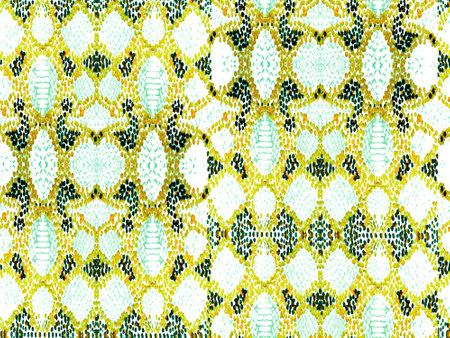Vibrant Geometric Swimwear Pattern. Ethnic Seamless Pattern. Watercolor Ethnic Design. Summer Rhombus Background. Green and Yellow Geo Symmetric Ikat Rapport. Snake Skin Random Texture.