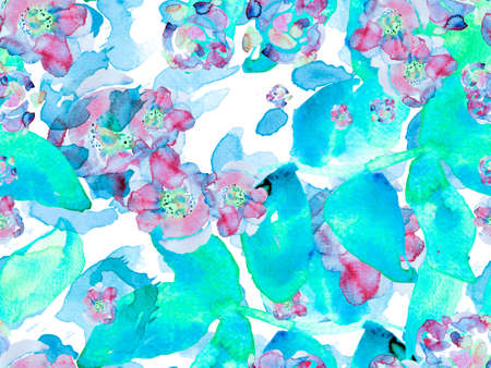 Watercolor Roses, Peony and Leaves Seamless Pattern. Vintage Peonie Eco Rapport. Botanical Floral Illustration. Blue and Indigo Summer Blossom Background. Exotic Swimwear Design.