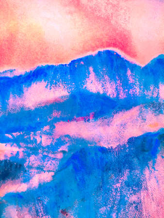 Contemporary Geometric Sketch. Mountain Illustration. Stylized Japanese Watercolor Mountains. Fun Himalayas. Watercolor Korea Print. Green and Teal Asian Hiking Rocky Background.