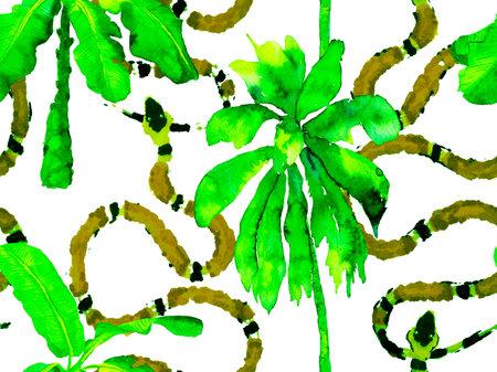 Snake Skin Print. Venom Dragon Imitation. Green and Aqua Menthe Aspid Seamless Pattern. Elapidae Exotic Background. Hand Drawn Tropical Pattern. African Safari Leather and Flora Illustration.
