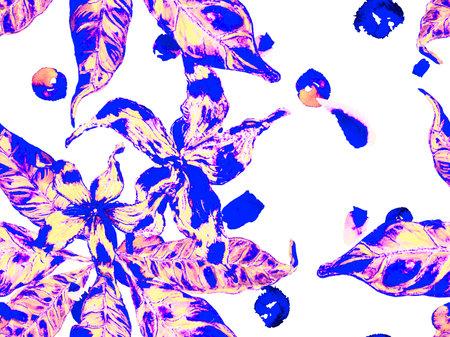 Bio Jasmin Seamless Pattern. Vibrant Sakura and Jasmine Print. Floral Ayurveda Pattern. Proton Purple Watercolor Citrus Orange Blooming Flowers and Leaves. Summer Vintage Background.