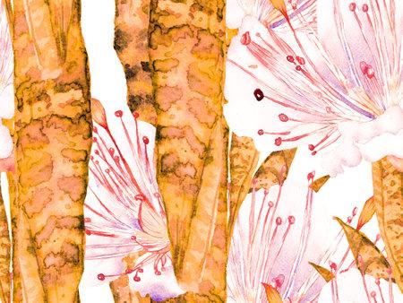 Exotic Swimwear Design. Hawaii Aquarelle Print. Watercolor leaves Seamless Pattern. Vintage Eco Rapport. Rust Orange Summer Floral Background. Botanical Forest Illustration.