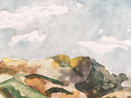 Fun Himalayas. Watercolor Korea Print. Contemporary Geometric Sketch. Mountain Illustration. Indigo Blue and Brown Asian Hiking Rocky Background. Stylized Japanese Watercolor Mountains. Banco de Imagens