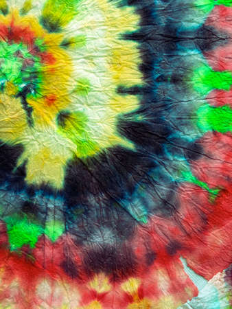 Tie Dye Spiral Background. Green and Red Psychedelic Swirl Textile. Hippie Batic. Vibrant Haight San Francisco Swatch. Freedom tiedye Swirl. Boho Dyed Clothes. Reggae Watercolor Effect.