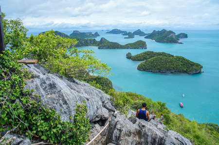 View of Islands and cloudy sky from viewpoint of Ang Thong National Marine Park in Gulf of Thailand, Surat Thani Province, Thailand