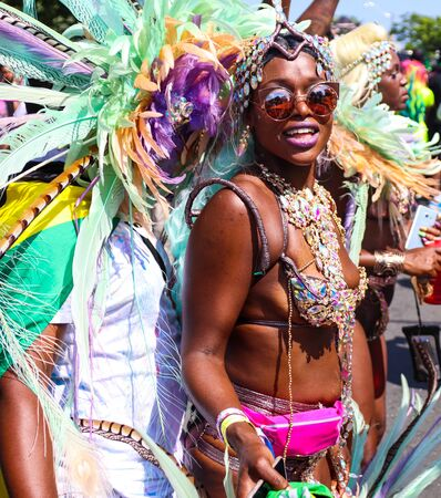 Toronto, OntarioCanada - August 3 2019:  Dancer at the annual Caribbean Carnival (formerly called Caribana), a free public event celebrating Caribbean culture.