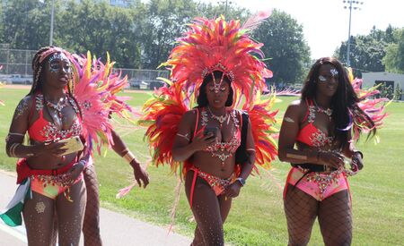 Toronto, OntarioCanada - August 3 2019:  Dancers at the annual Caribbean Carnival (formerly called Caribana), a free public event celebrating Caribbean culture.