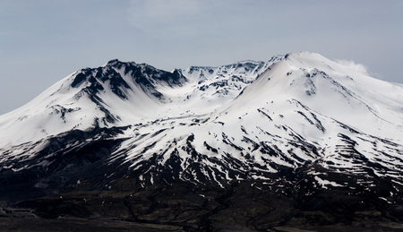 Mt. St. Helens crater lava dome covered in snow