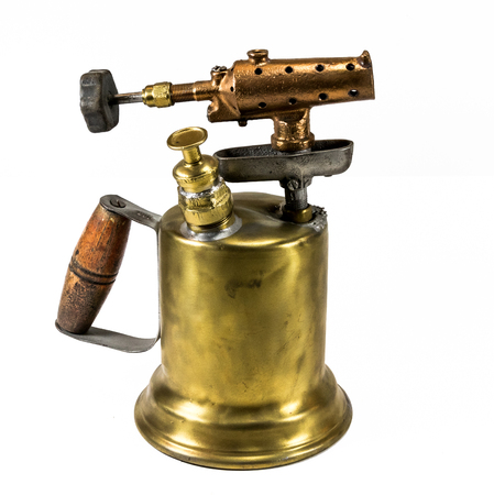 Old fashioned brass blow torch with wooden handle and bronze nozzle 2