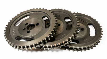 Antique automotive double roller cast iron timing gears