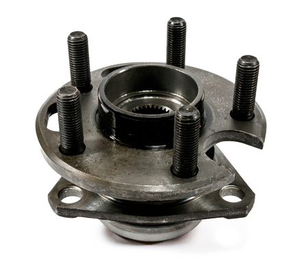 Antique vintage automotive hub and wheel bearing assembly with wheel studs Standard-Bild