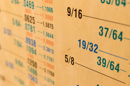 Fractional to decimal measurement size conversion chart yellowed from age covered in dust