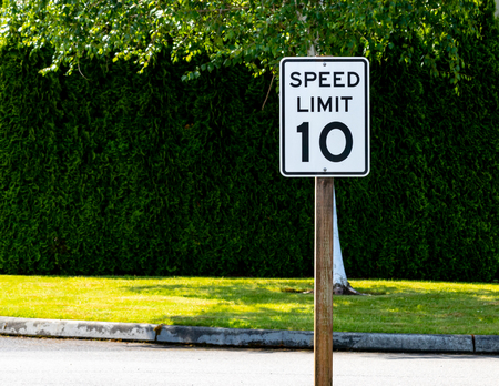 Ten mile per hour speed limit sign with green bushes and tree