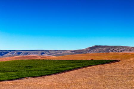 Eastern Washington Palouse vast expanse desert crop field and rolling hills Stock Photo