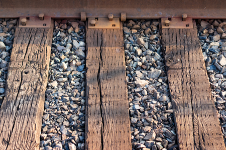 Railroad ties and steel track abstract with crushed rock Stock Photo
