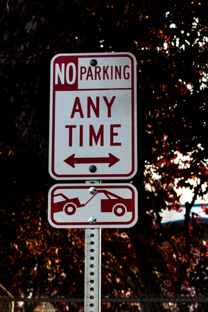 No parking any time tow away zone sign on a post with trees