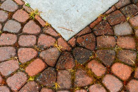 Abstract round brick texture with concrete interruption