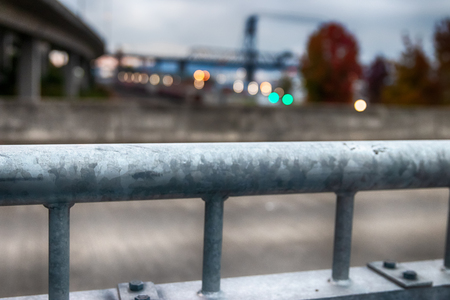 City bridge view with buildings and shallow depth of field