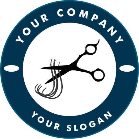 Scissors Cutting Hair Strand, Hair Solon Logo Illustration