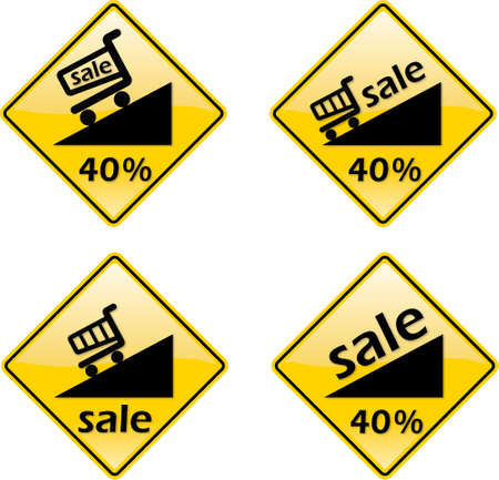Discount Sale Percent Label Sign Symbol on yellow background with black only Stock Vector - 5776143
