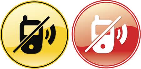 interdiction telephone: Aucun symbole portables t�l�phone label signe sur fond jaune avec du noir seulement