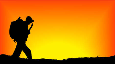 Soldier walking in front of sun rising Illustration