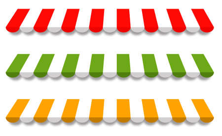 sunshades: Three Different Colored Vector Awnings, Red, Green and Yellow
